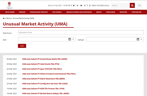 Daftar Saham UMA (Unusual Market Activity) di website IDX